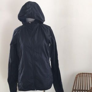 Uniqlo navy blue slim fit windbreaker hoodie S